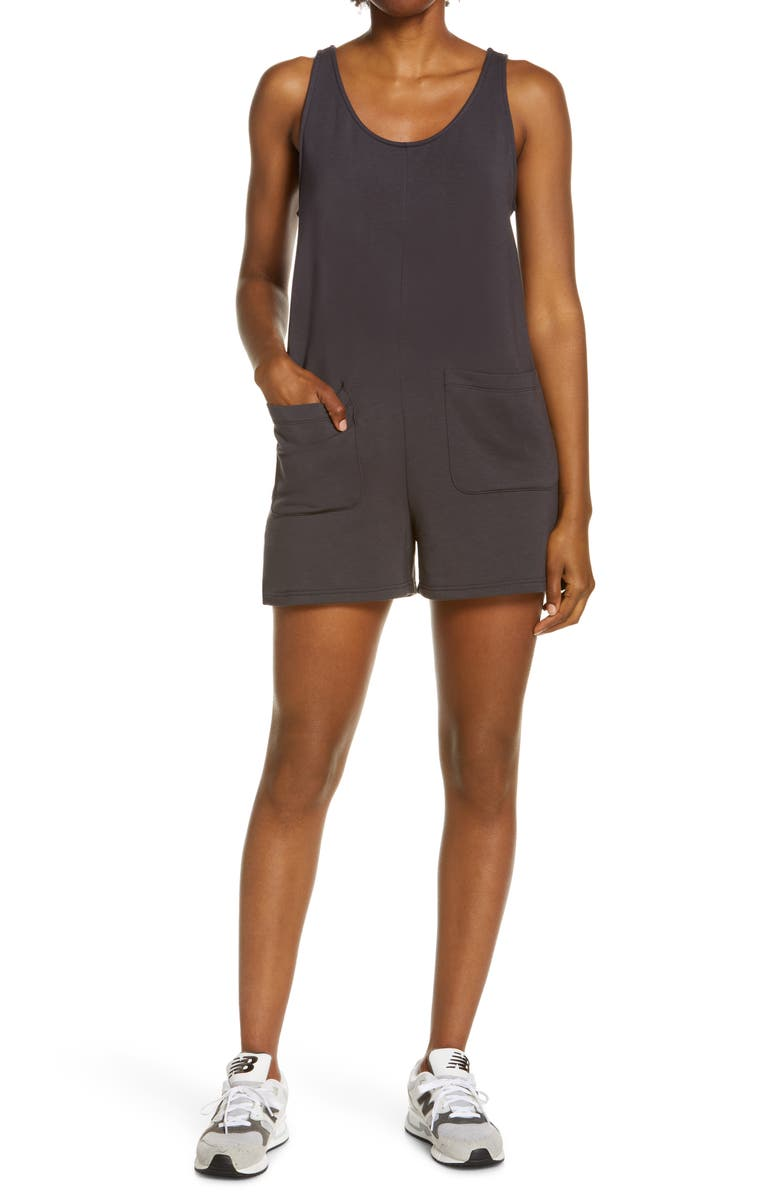 MADEWELL MWL Superbrushed Pull-On Romper, Main, color, BLACK COAL