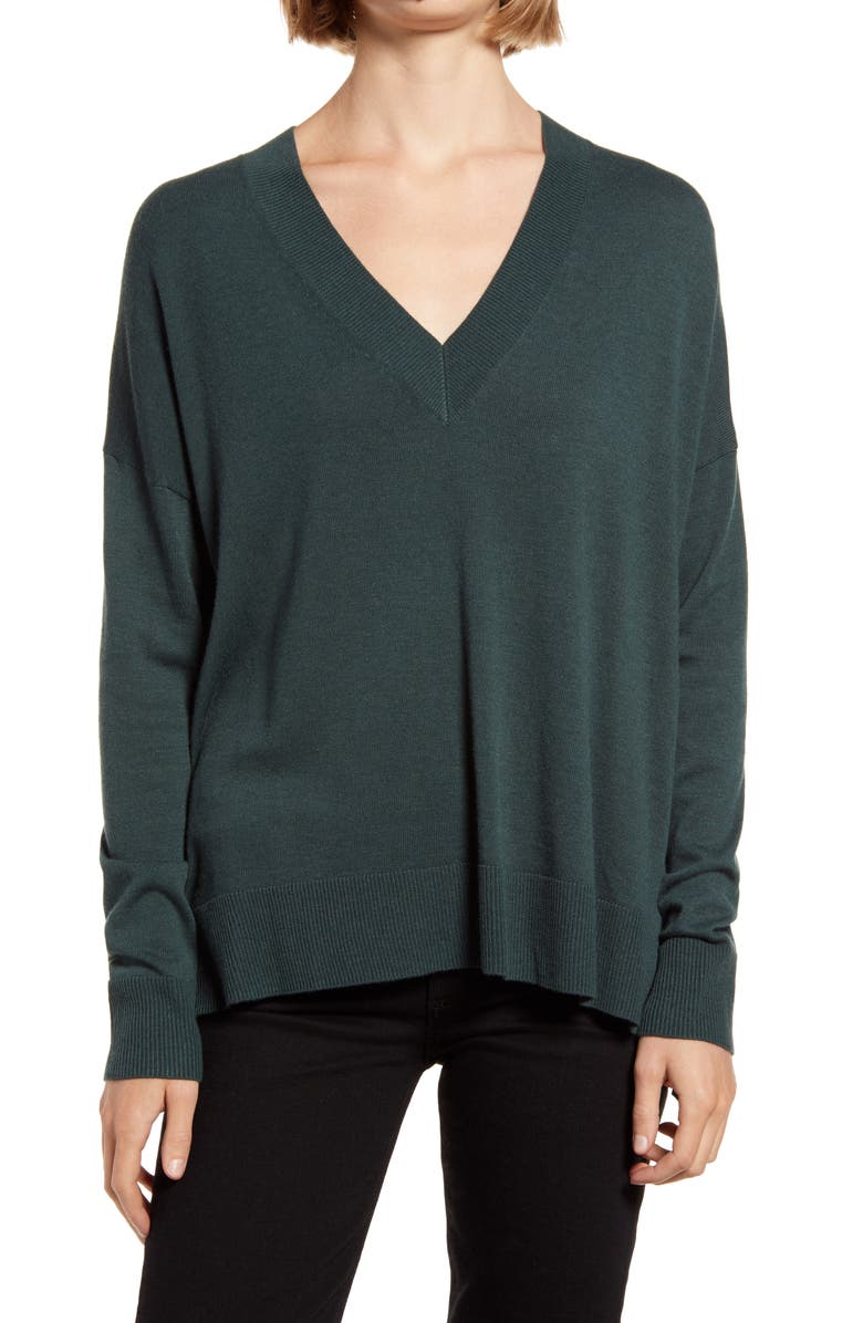 CHELSEA28 Oversize V-Neck High/Low Sweater, Main, color, GREEN GABLES