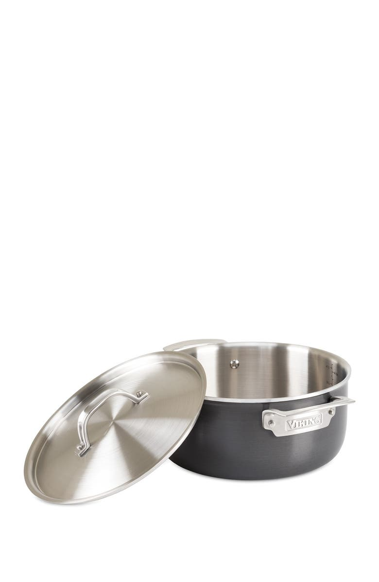 VIKING 5-Ply Hard Stainless 5 Qt Dutch Oven, Main, color, BLACK