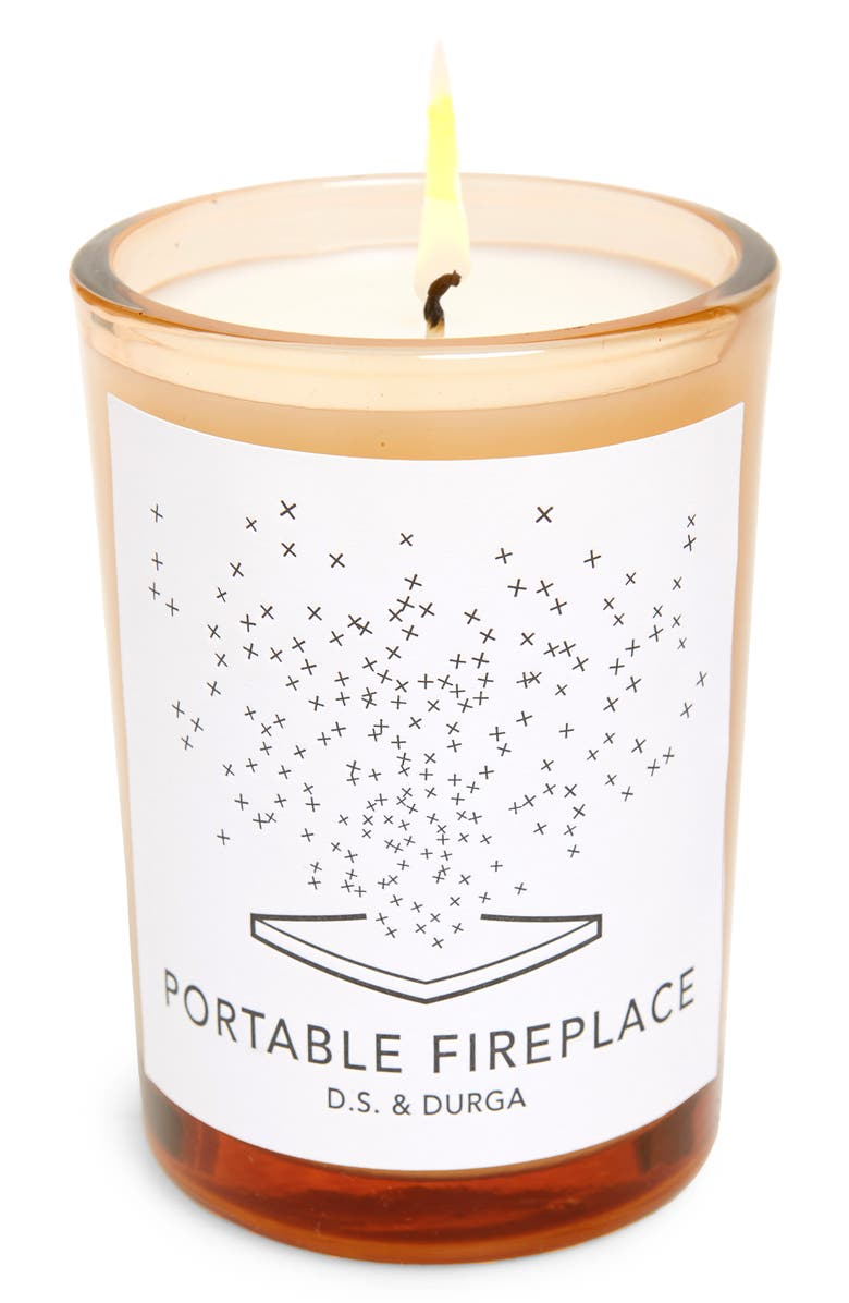 D.S. & DURGA Portable Fireplace Scented Candle, Main, color, White