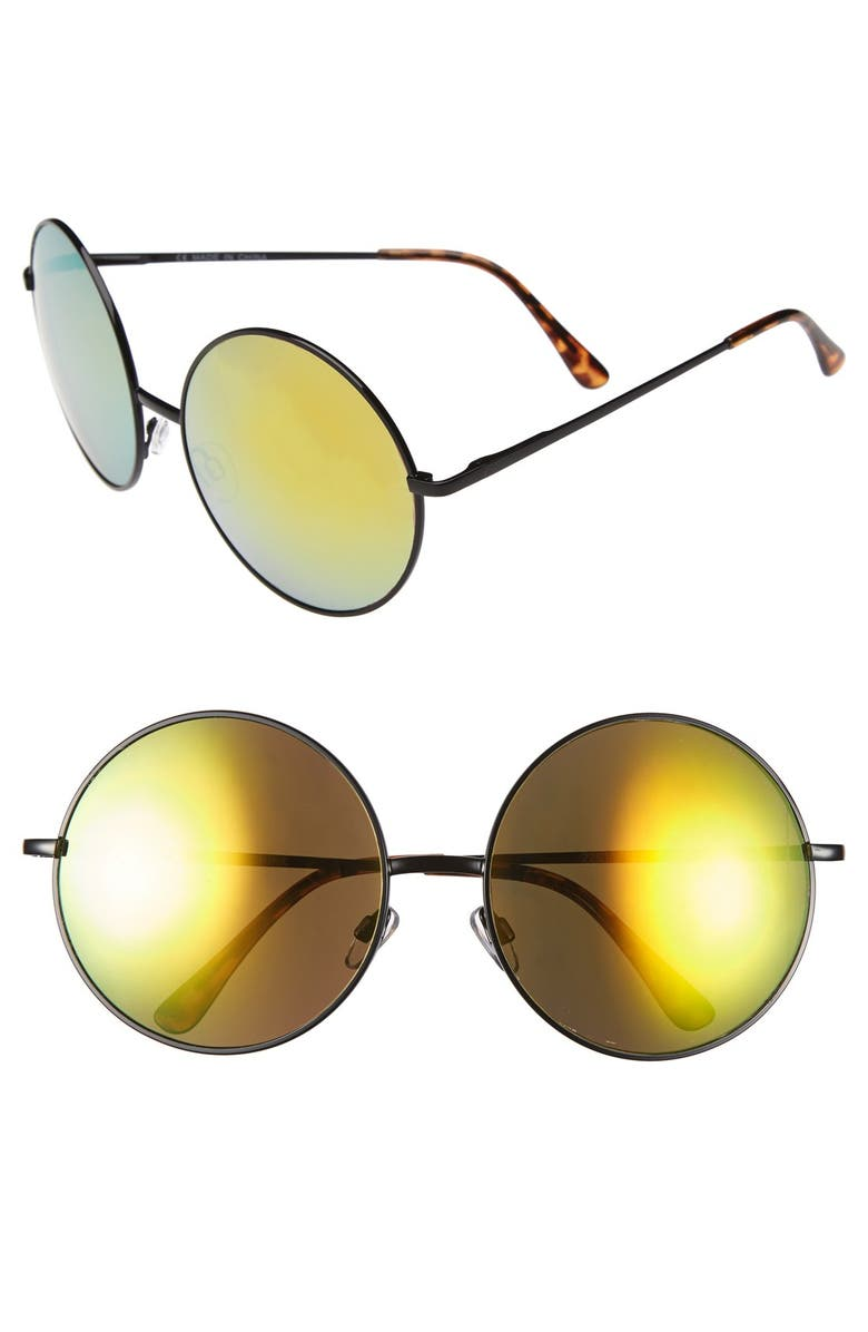 TOPSHOP 'Extreme Bug' 60mm Round Sunglasses, Main, color, 001