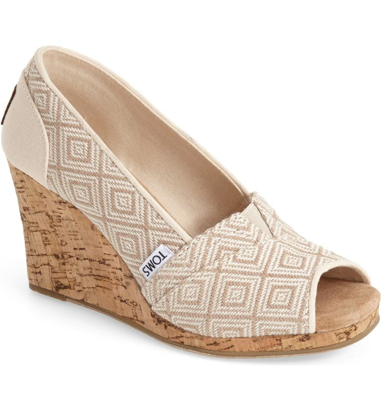 TOMS 'Classic' Woven Wedge Sandal, Main, color, NATURAL