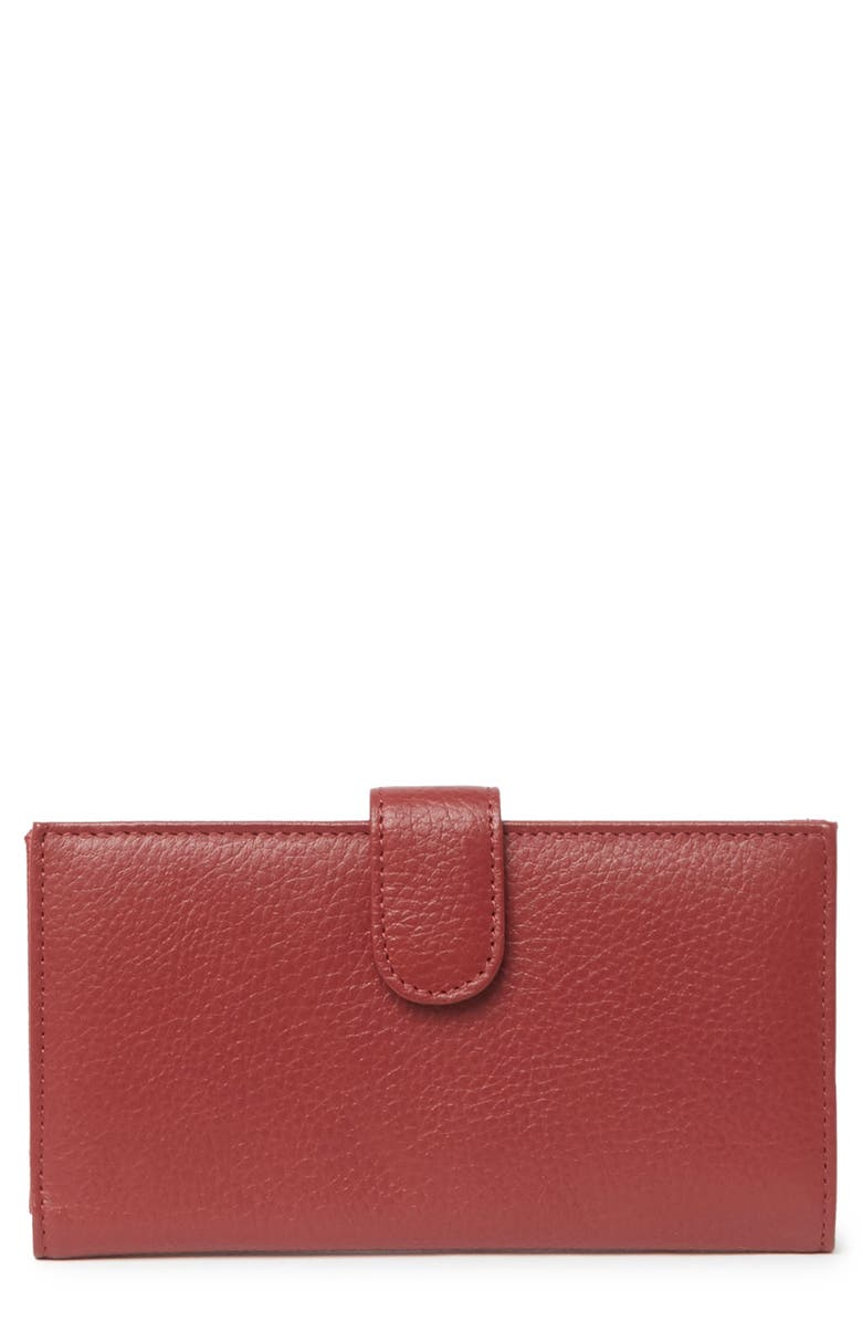 MUNDI Slim Leather Clutch Continental Wallet, Main, color, 05N-RED