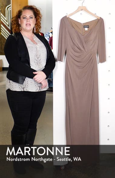 Ruched Jersey Column Gown, sales video thumbnail