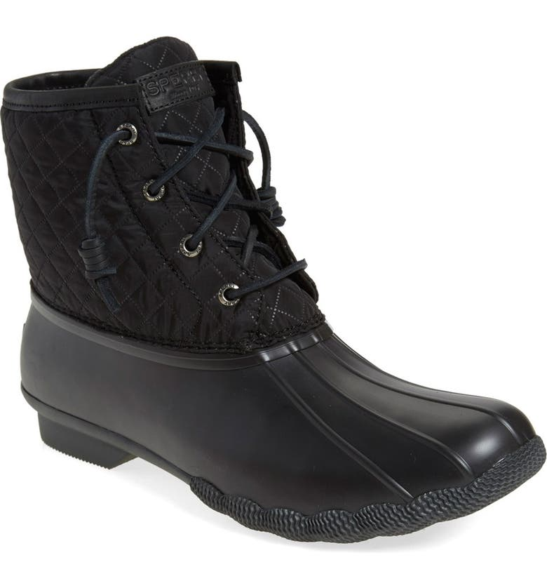 SPERRY 'Saltwater - Quilted' Duck Boot, Main, color, BLACK NYLON