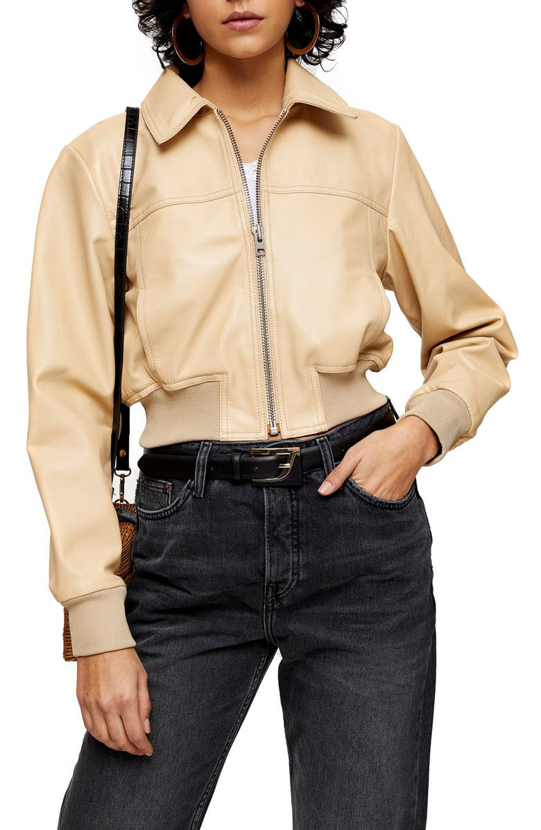 TOPSHOP Leather Bomber Jacket, Main, color, 900