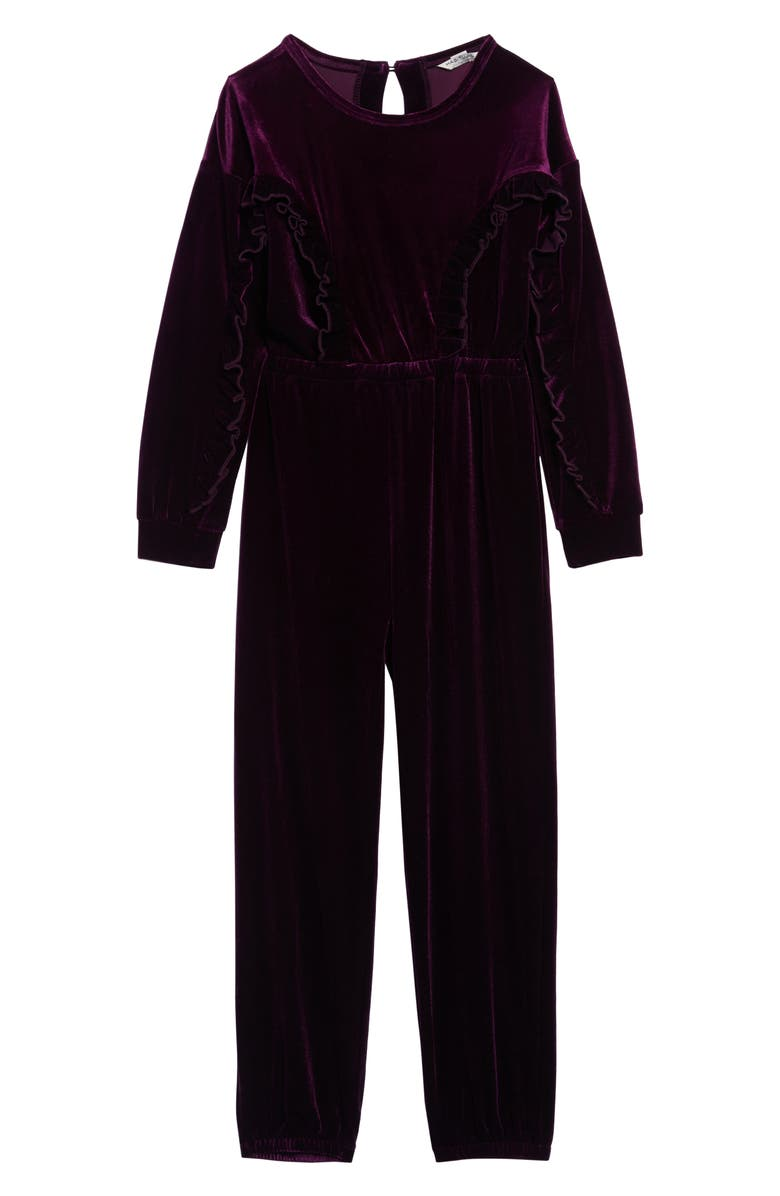 HABITUAL Carina Velvet Ruffle Jumpsuit, Main, color, 500