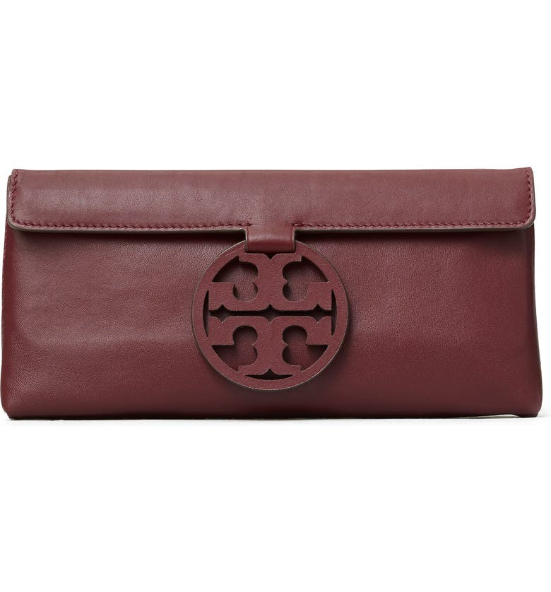 TORY BURCH Miller Leather Clutch, Main, color, PORT