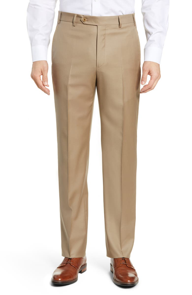 ZANELLA Todd Relaxed Fit Flat Front Solid Wool Dress Pants, Main, color, Dark Beige