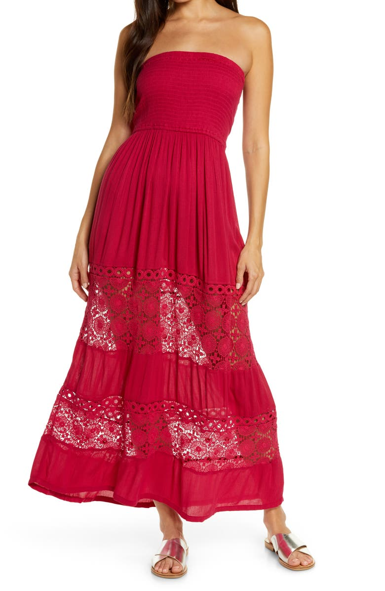 CHELSEA28 Farrah Smocked Cover-Up Maxi Dress, Main, color, RED CERISE