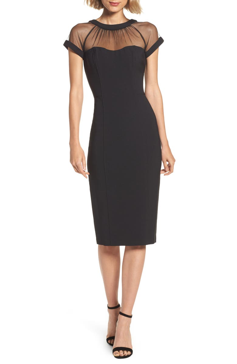 MAGGY LONDON Illusion Yoke Crepe Cocktail Dress, Main, color, 001
