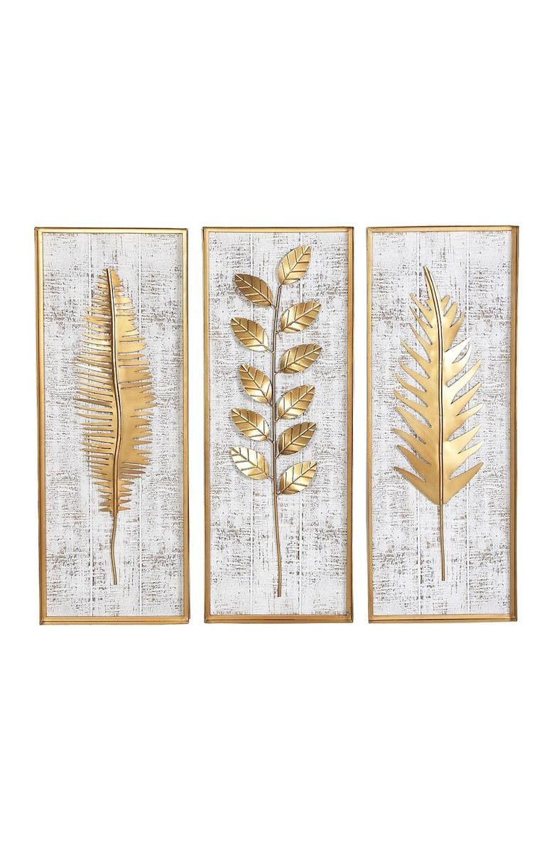 WILLOW ROW Multi Natural Wall Decor - Set of 3, Main, color, GOLD