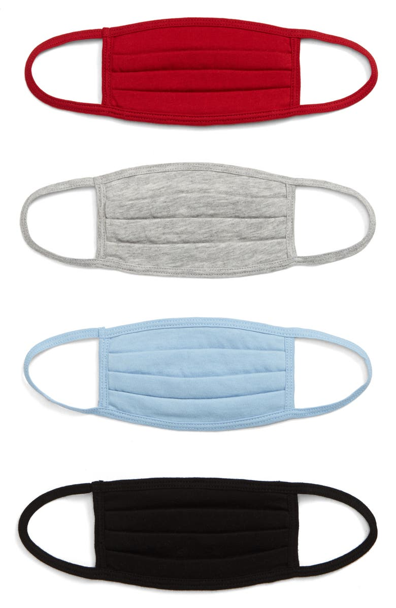 NORDSTROM 4-Pack Kids' Pleated Cotton Face Masks, Main, color, SOLID KNIT MULTI PACK