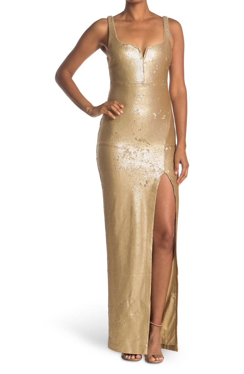 LIKELY Mineo Sequin Sweetheart Neck Gown, Main, color, GOLD