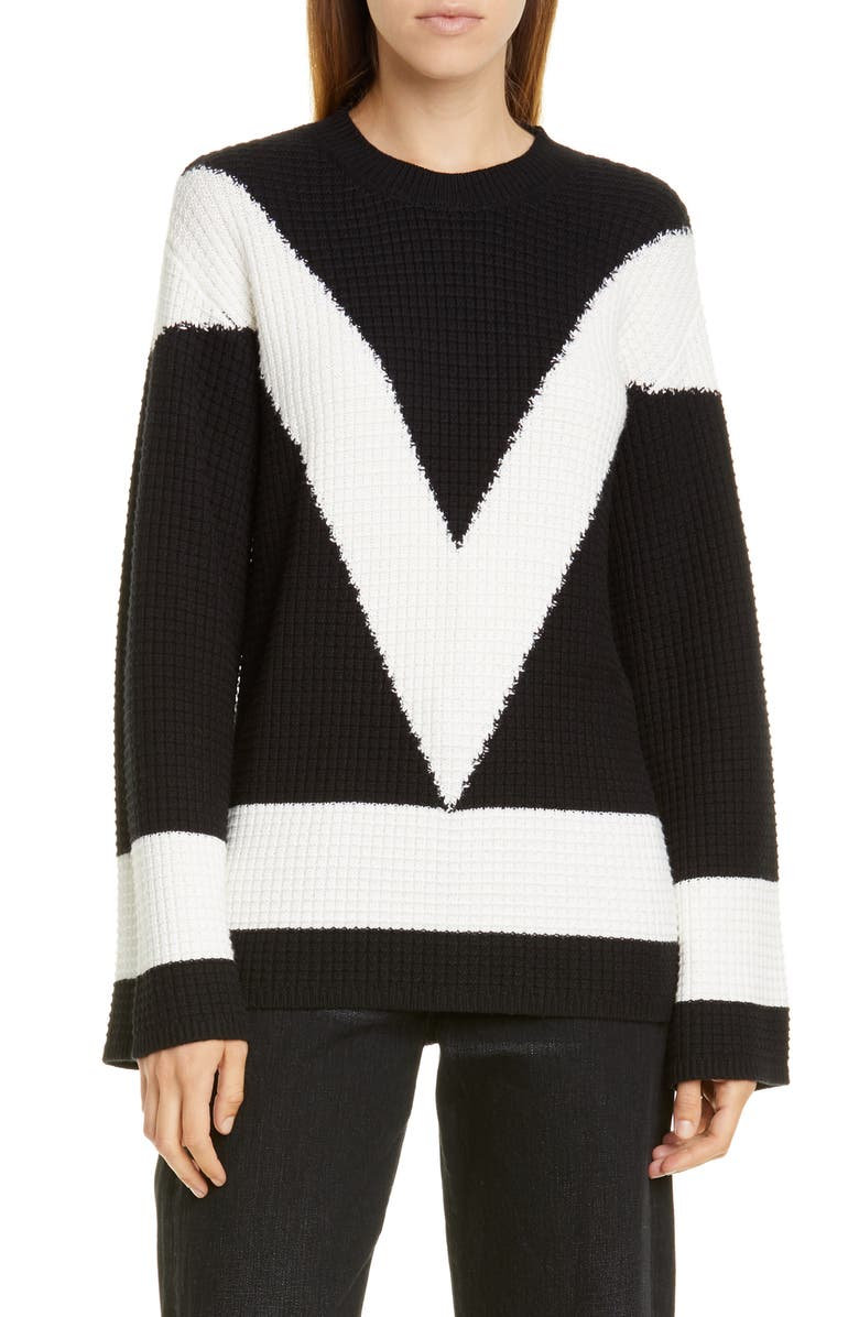 VICTOR GLEMAUD Cotton & Cashmere Crewneck Sweater, Main, color, 001