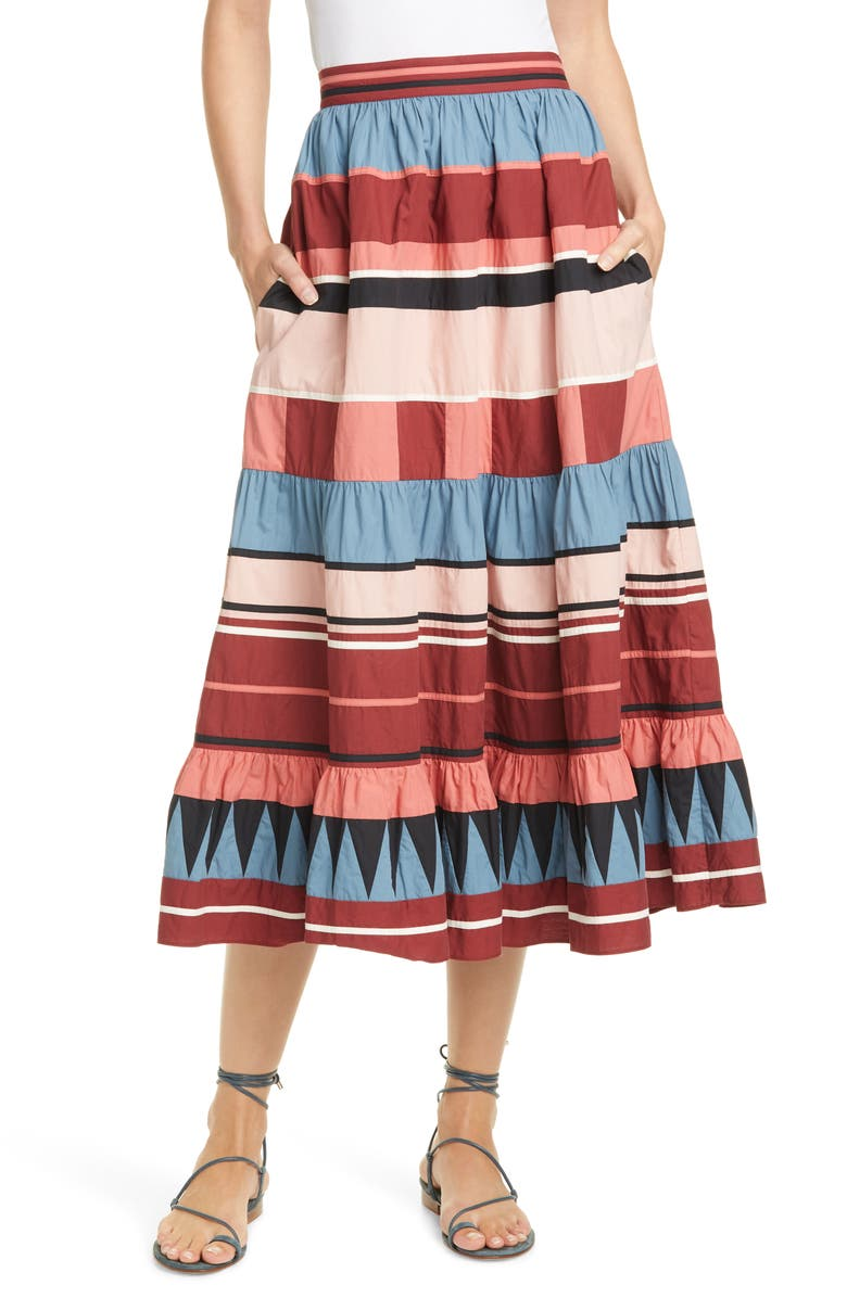 ULLA JOHNSON Simi Stripe Skirt, Main, color, 650