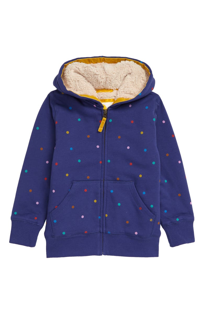 MINI BODEN Shaggy Lined Hoodie, Main, color, STARBOARD BLUE MULTI SPOT