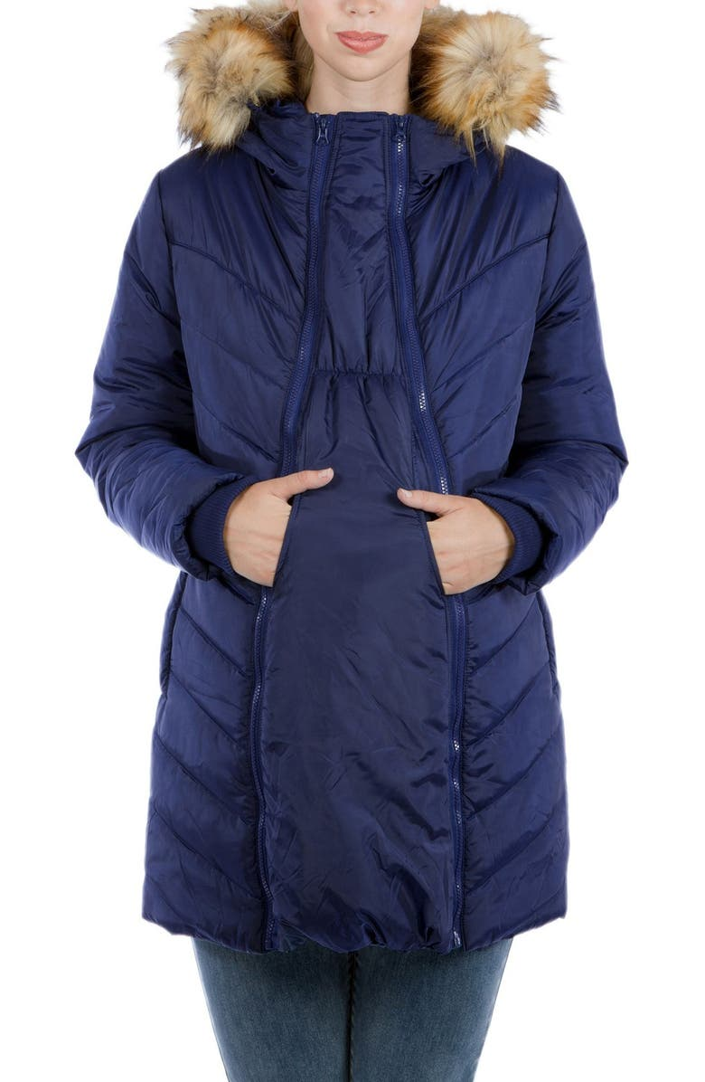 MODERN ETERNITY Faux Fur Trim Convertible Puffer 3-in-1 Maternity Jacket, Main, color, NAVY