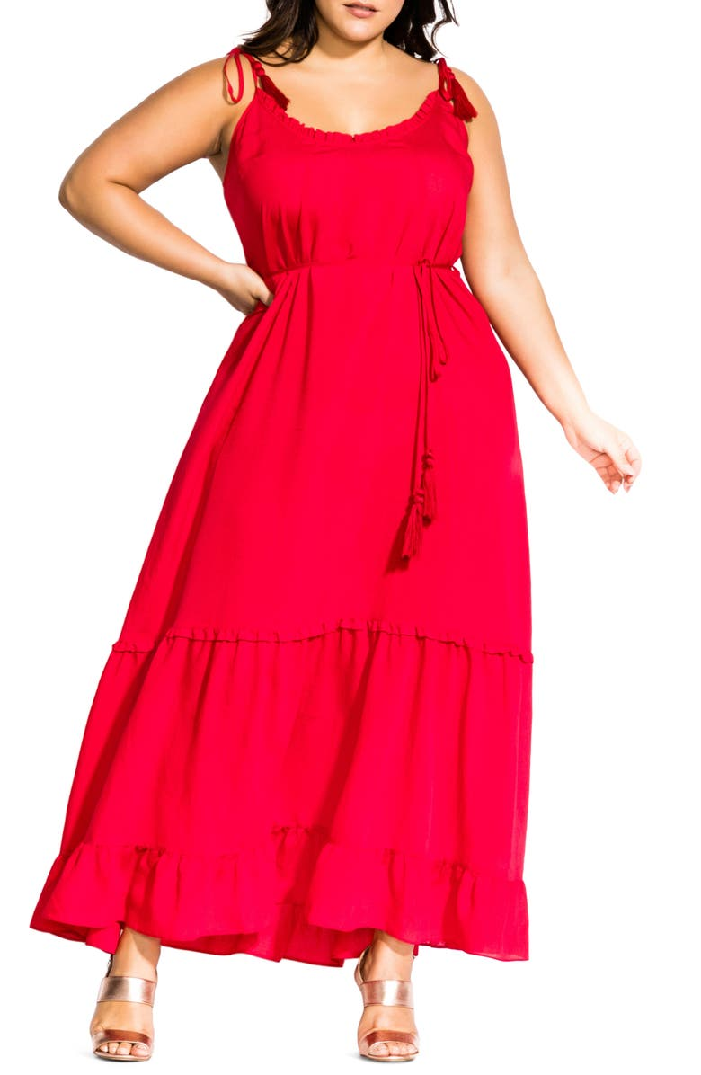 CITY CHIC Endless Summer Maxi Dress, Main, color, RED LOVE