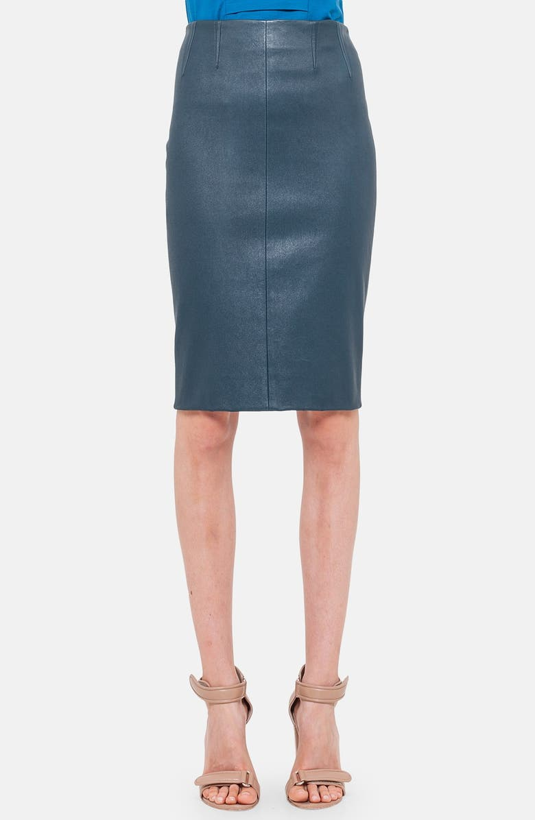 AKRIS PUNTO Stretch Leather Pencil Skirt, Main, color, 460