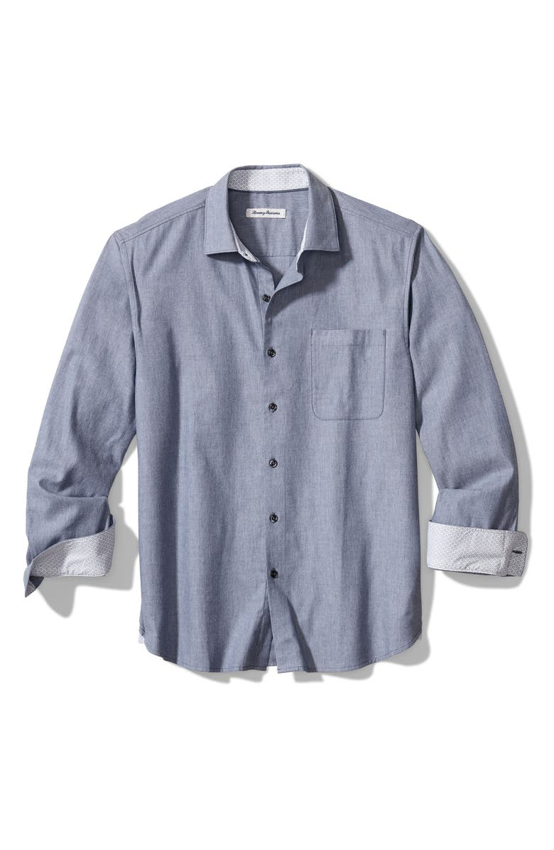 TOMMY BAHAMA Heather Bay Herringbone Button-Up Shirt, Main, color, BERING BLUE