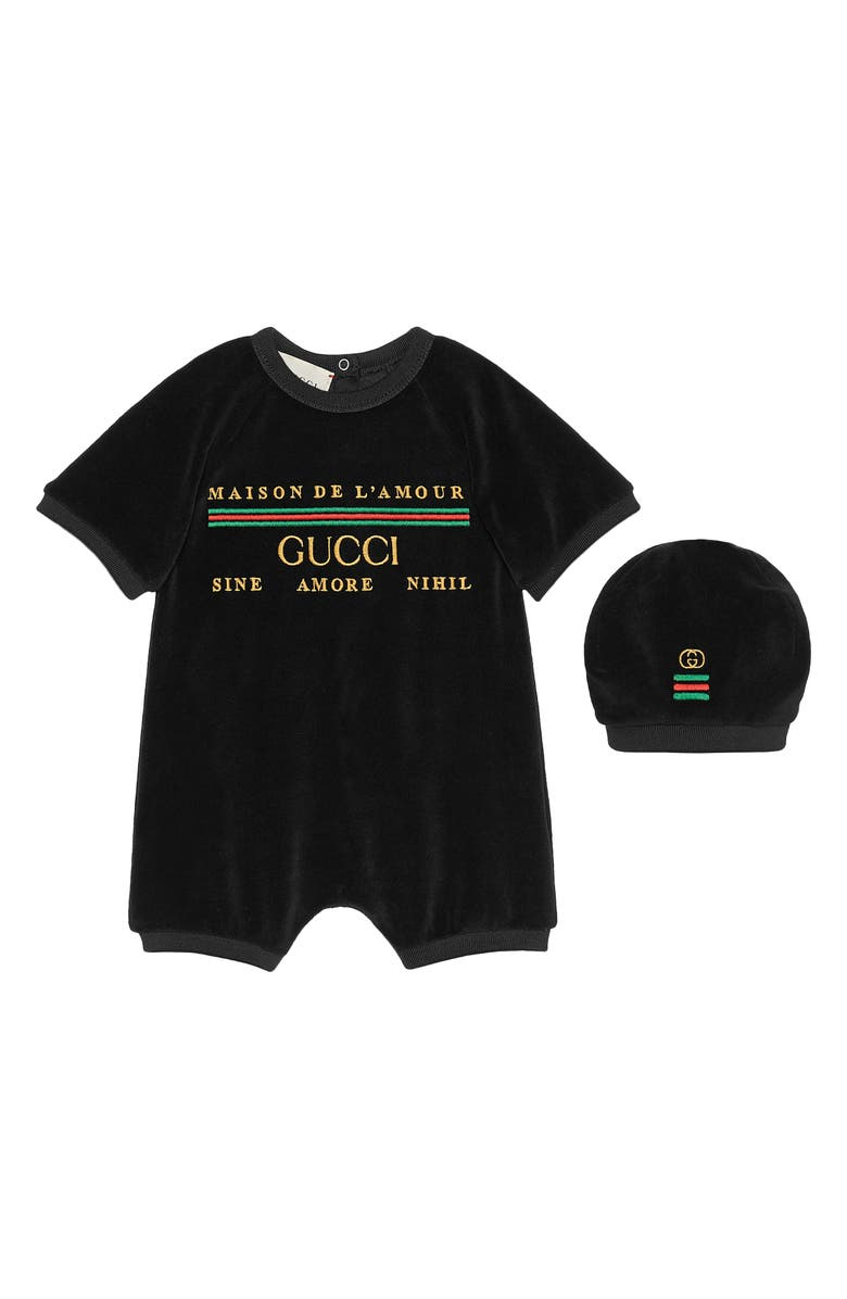 GUCCI Embroidered Velour Romper & Hat Set, Main, color, 001