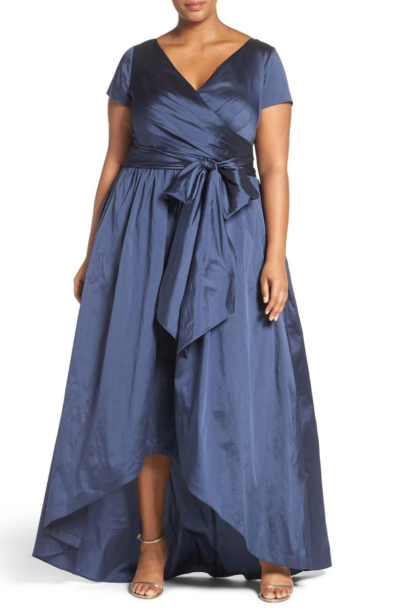 ADRIANNA PAPELL Shirred Taffeta High/Low Gown, Main, color, NAVY