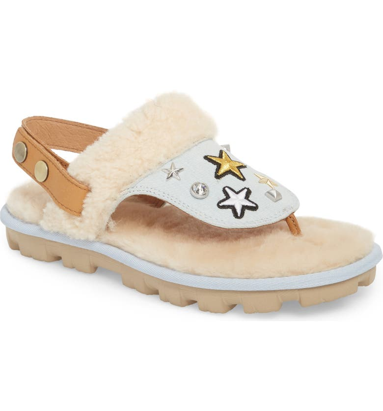 UGG<SUP>®</SUP> Patch It Slingback Sandal with Genuine Shearling Trim, Main, color, 452