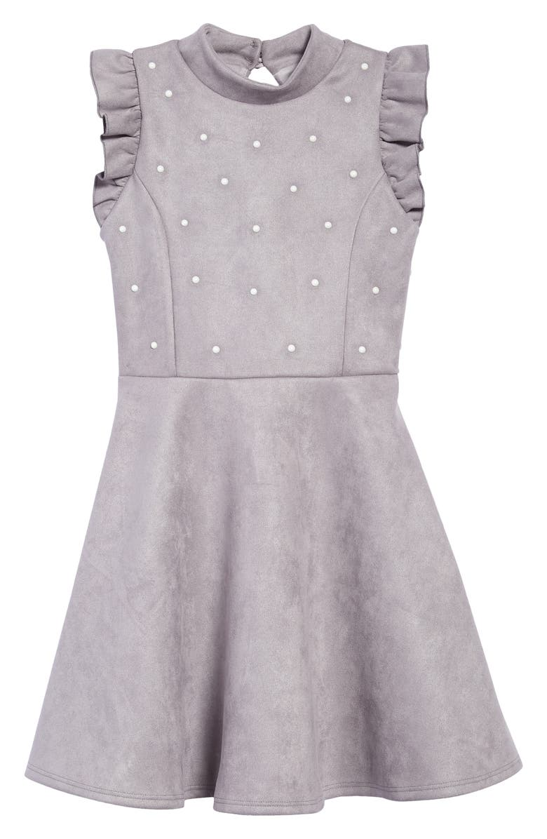 AVA & YELLY Mock Neck Faux Suede Dress, Main, color, GREY