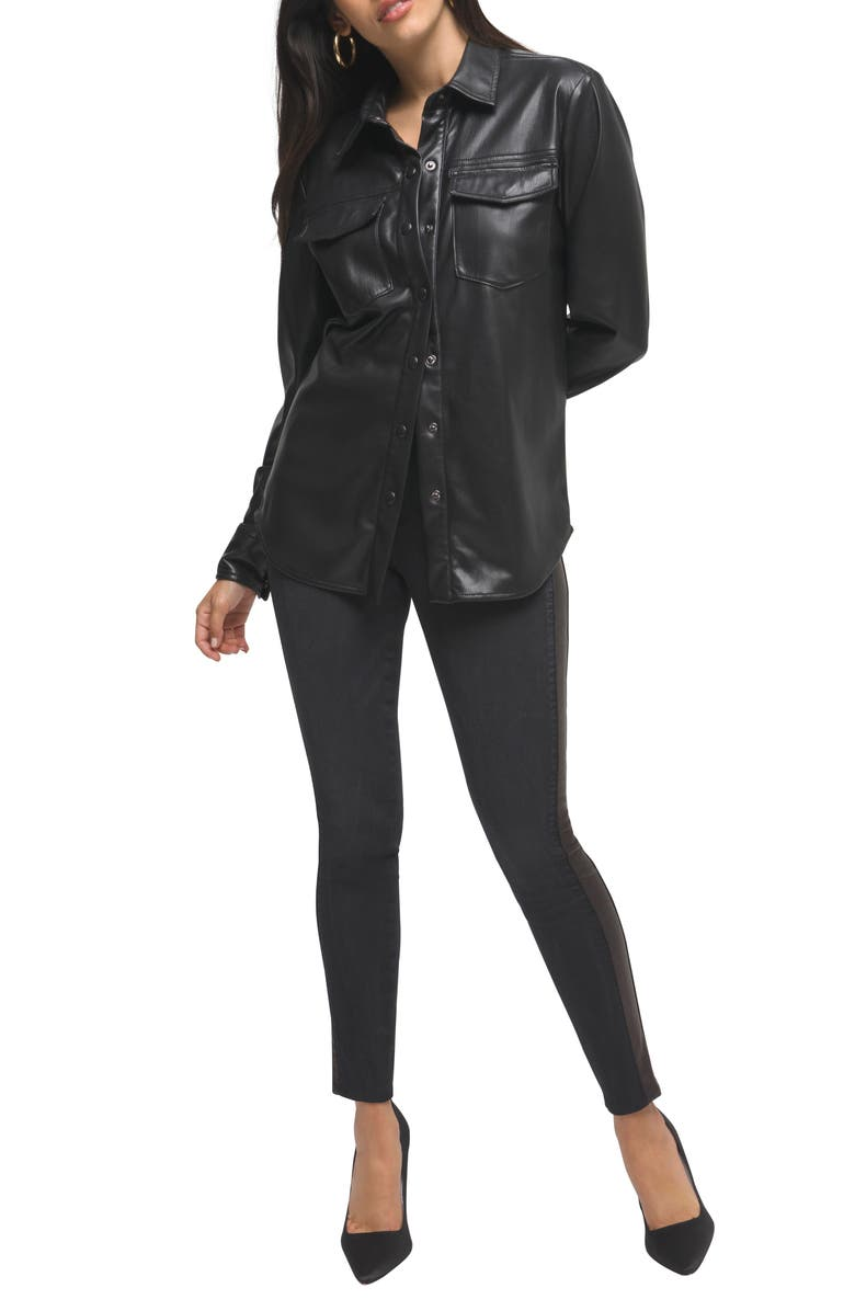 GOOD AMERICAN Faux Leather Military Shirt Jacket, Main, color, BLACK001
