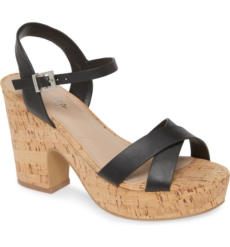CHARLES BY CHARLES DAVID Departed Sandal, Main, color, BLACK FAUX LEATHER