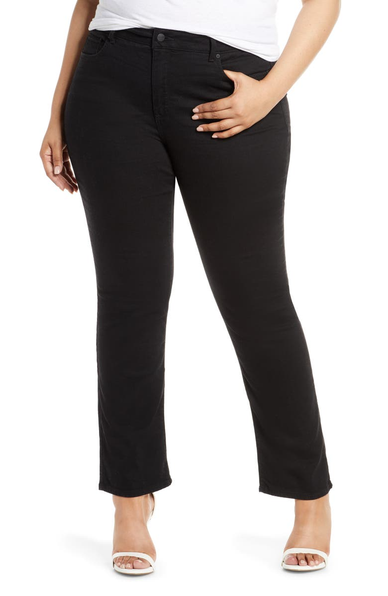 NYDJ Marilyn Stretch Straight Leg Jeans, Main, color, BLACK