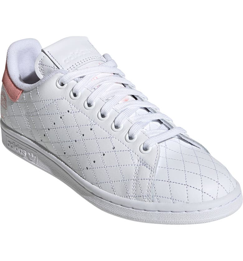 ADIDAS Stan Smith Quilted Sneaker, Main, color, WHITE/ WHITE/ GLORY PINK