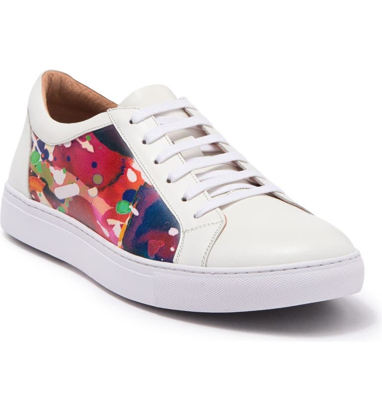 ROBERT GRAHAM Ignition Leather Sneaker, Main, color, WHITE