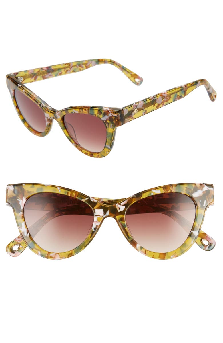 LELE SADOUGHI Uptown 47mm Cat Eye Sunglasses, Main, color, AMBER CONFETTI/ SMOKEY BROWN