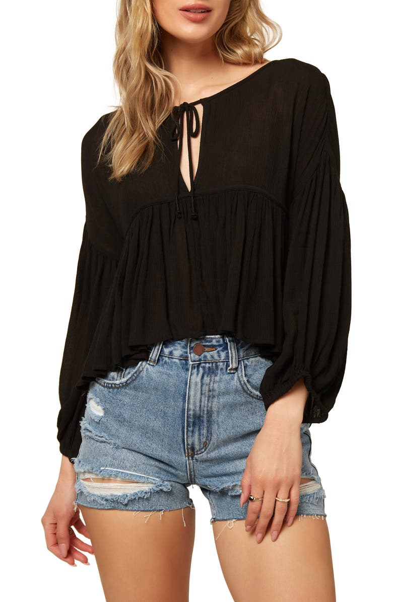 ONEILL O'Neill Rosie Tie Neck Top, Main, color, BLACK