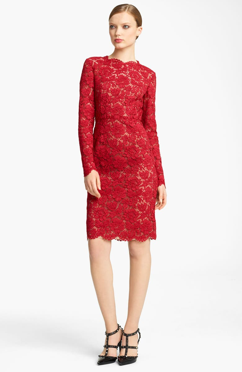 VALENTINO Bow Detail Lace Sheath Dress, Main, color, RED