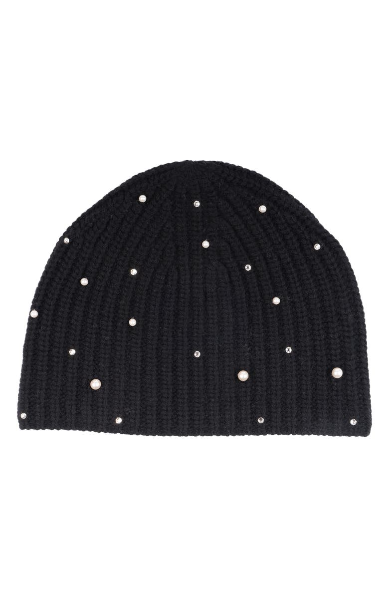 CAROLYN ROWAN ACCESSORIES Embellished Cashmere Beanie, Main, color, 001