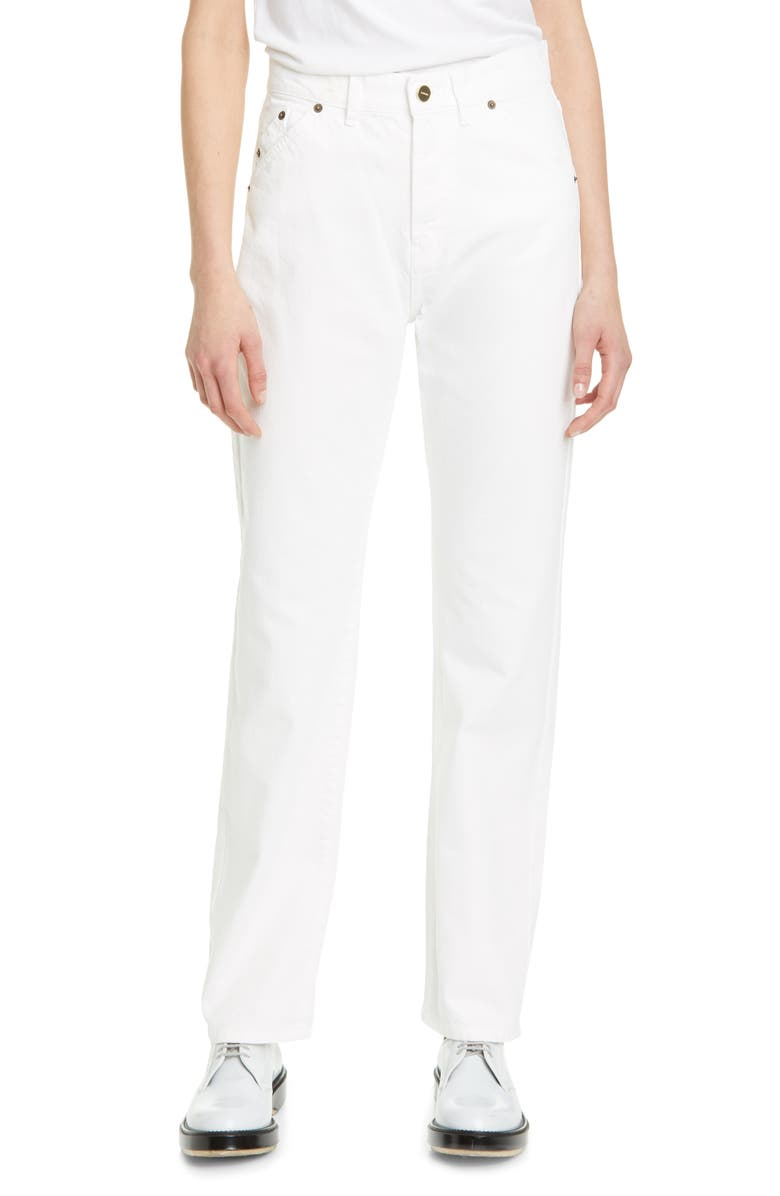 JACQUEMUS High Waist Straight Leg Jeans, Main, color, 100
