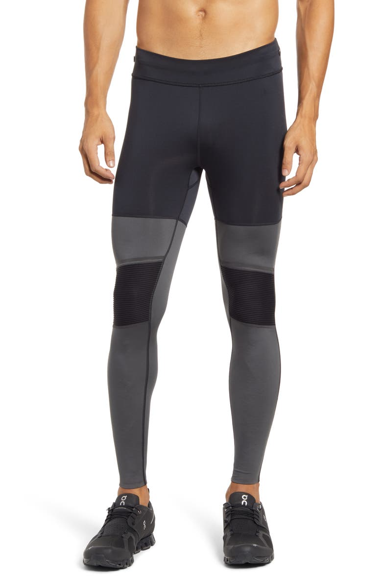 ON Men's Long Performance Running Tights, Main, color, BLACK/ SHADOW