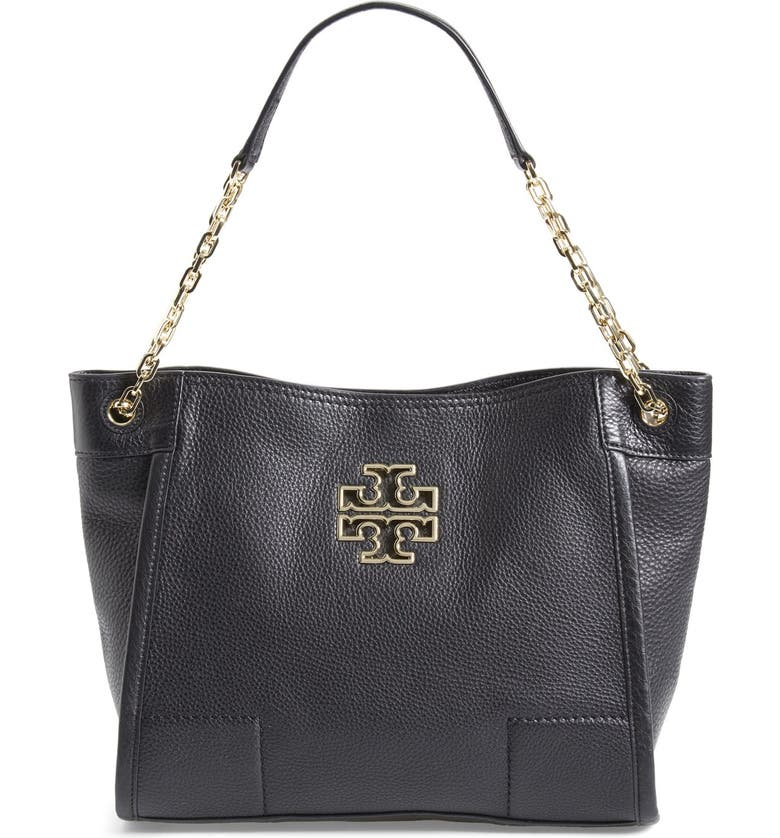 TORY BURCH 'Small Britten' Leather Slouchy Tote, Main, color, 001