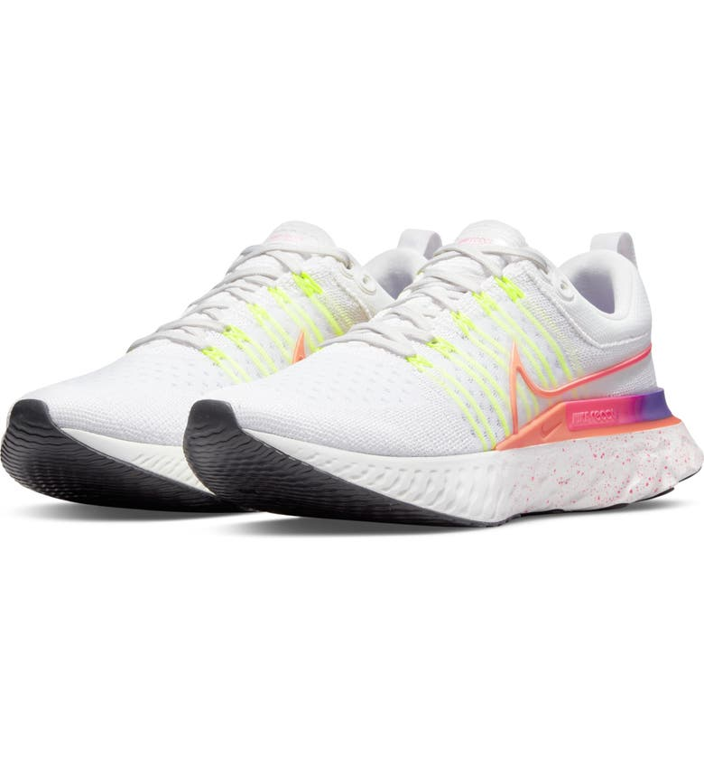 NIKE React Infinity Run Flyknit 2 Running Shoe, Main, color, PLATINUM / MANGO/ PINK
