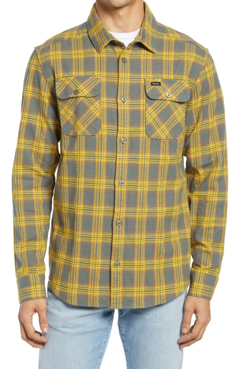 RVCA That'll Work Regular Fit Plaid Flannel Button-Up Shirt, Main, color, BALSAM GREEN