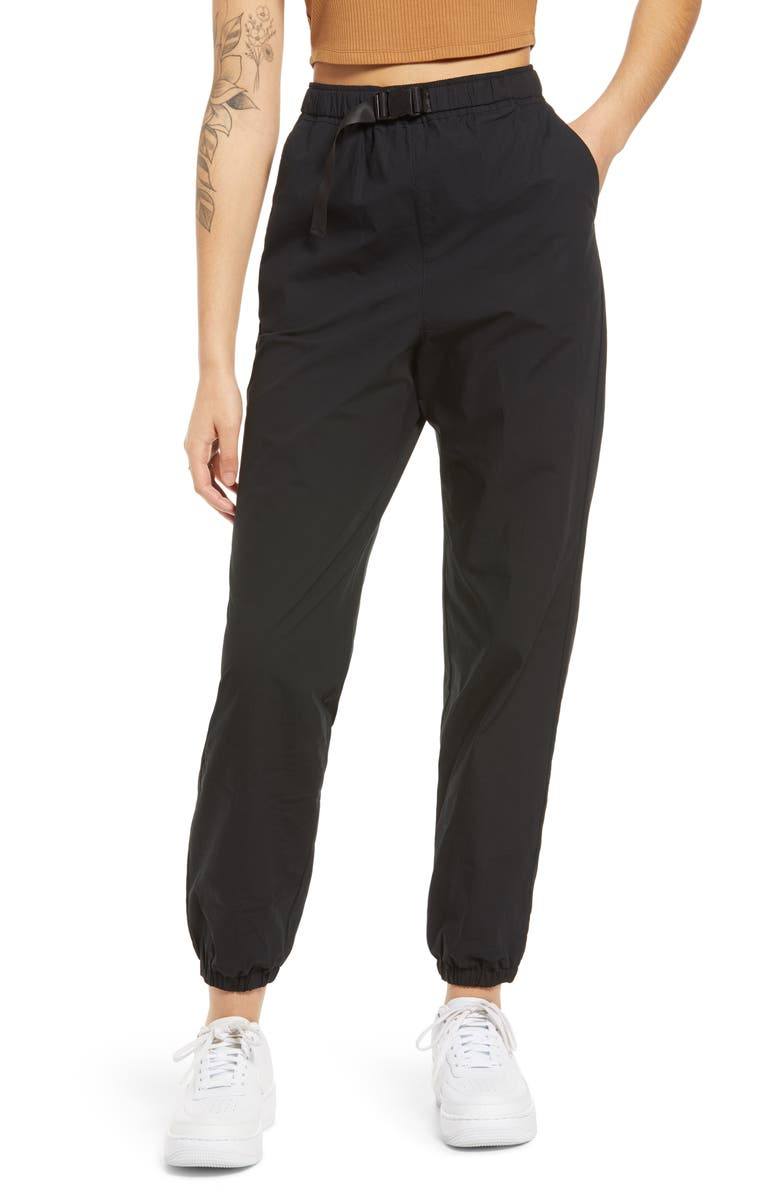 BP. Sporty Belted Joggers, Main, color, BLACK
