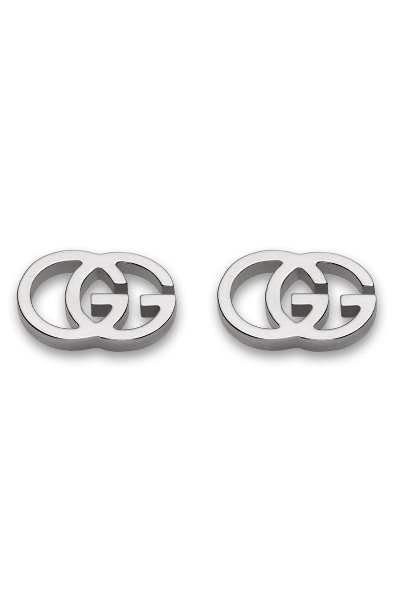 GUCCI Double-G Stud Earrings, Main, color, WHITE GOLD