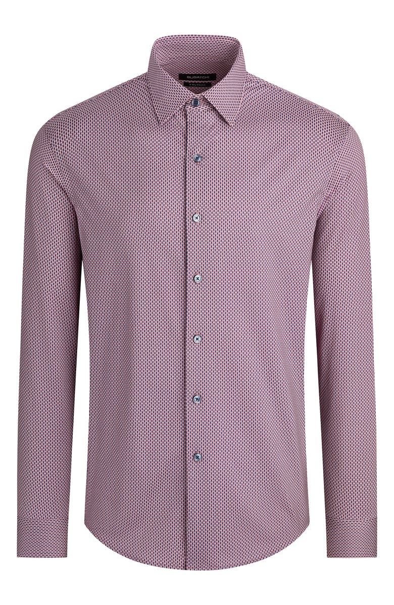 BUGATCHI OoohCotton<sup>®</sup> Tech Microprint Knit Button-Up Shirt, Main, color, BORDEAUX