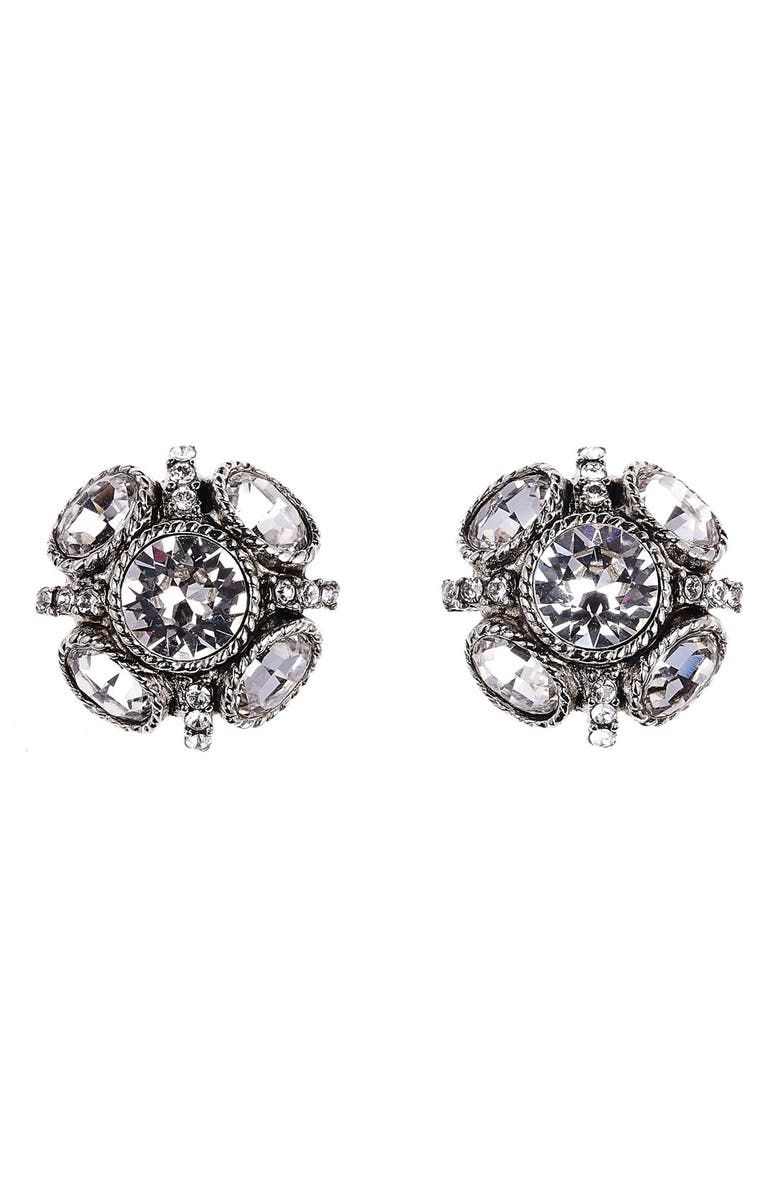 OSCAR DE LA RENTA Classic Button Stud Earrings, Main, color, CRYSTAL SILVER