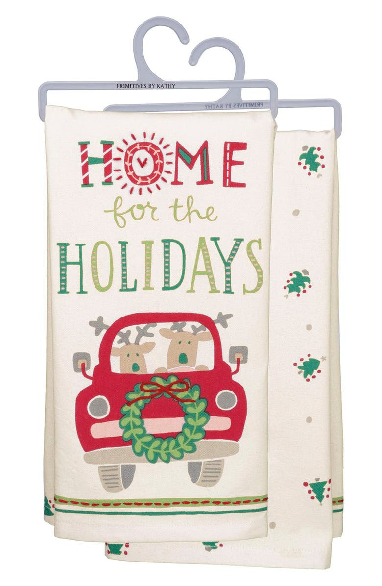 PRIMITIVES BY KATHY Home for the Holidays Dish Towel, Main, color, 100