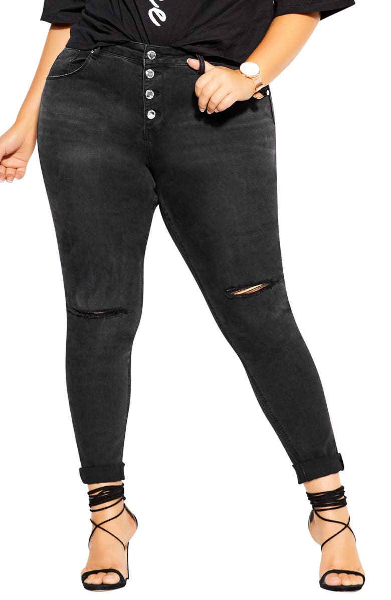CITY CHIC Classic Button Skinny Jeans, Main, color, WASHED BLACK