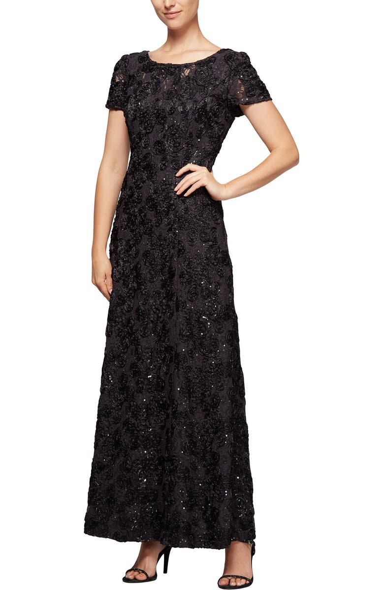 ALEX EVENINGS Embellished Lace A-Line Gown, Main, color, NO_COLOR